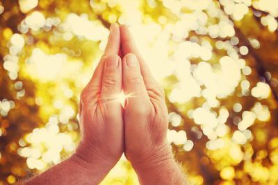 Praying Hands. Instagram Effect.
