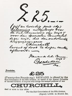 Wanted Poster for Escaped Prisoner of War Churchill, from 'A Roving Commission by Winston S.… by South African School