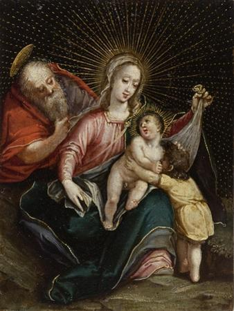 The Holy Family with Saint John the Baptist,18th century by South American School