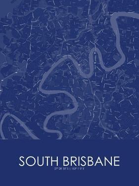 South Brisbane, Australia Blue Map