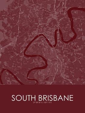 South Brisbane, Australia Red Map
