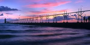 South Haven Lighthouse and pier at dusk, South Haven, Michigan, USA