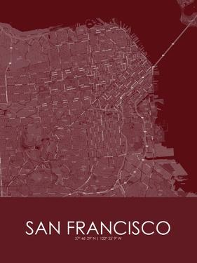 South San Francisco, United States of America Red Map