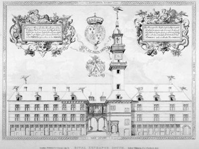 South View of the First Royal Exchange with Coats of Arms Above, City of London, 1819