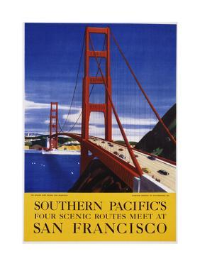 Southern Pacific's Four Scenic Routes Meet at San Francisco Travel Poster