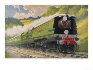 """Southern Railway Express is Hauled by a """"West Country"""" Locomotive"""