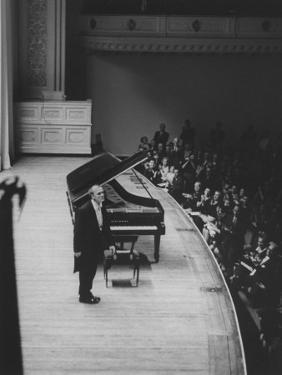 Soviet Pianist, Sviatoslav Richter, on Stage During His Tour