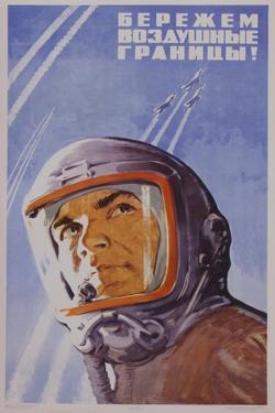 Soviet Poster with Pilot Wearing Helmet