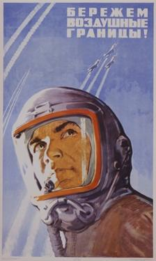 Soviet Poster with Pilot Wearing Helmet