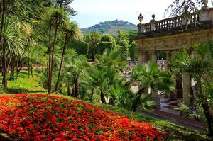 Spa Gardens with View of Montecatini Alto at Montecatini Thermal Baths, Tuscany, Italy