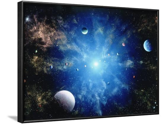 Space Illustration Titled Nova-Ron Russell-Framed Photographic Print