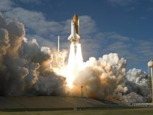 Space Shuttle Atlantis Lifts Off from its Launch Pad at Kennedy Space Center, Florida