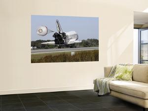 Space Shuttle Atlantis Unfurls its Drag Chute Upon Landing at Kennedy Space Center, Florida