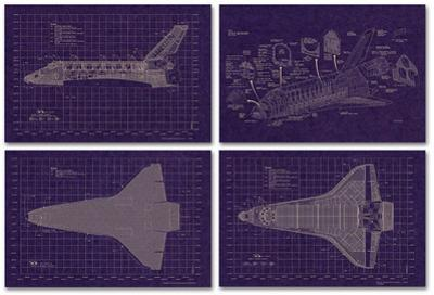 Space Shuttle Blueprint Set (4 Sheets) High Quality Educational Poster