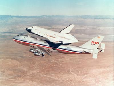 Space Shuttle Orbiter Mounted on Top of a Boeing 747 Carrier Aircraft, 1977