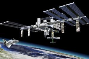 Space Station in Orbit around Earth with Space Shuttle