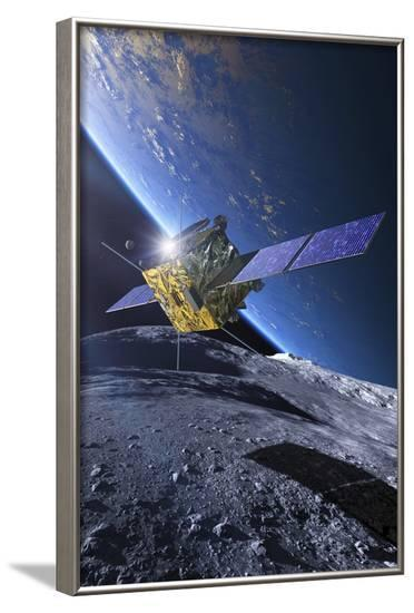 Spacecraft Orbiting Asteroid Approaching Earth--Framed Photographic Print