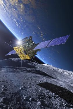 Spacecraft Orbiting Asteroid Approaching Earth