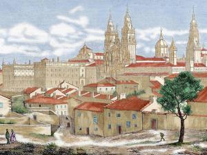 Spain. Galicia. Santiago De Compostela. Engraving