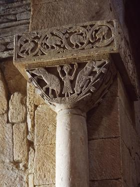 Spain, Zamora, Church of St Peter of Nave, Daniel in Lion's Den, Detail of a Carved Capital