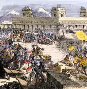 Spanish Invaders Attacked by the Aztecs in Tenochtitlan during la Noche Triste, c.1520
