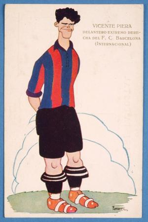 Postcard Depicting a Caricature of the Spanish Footballer Vicente Piera of Barcelona by Spanish School