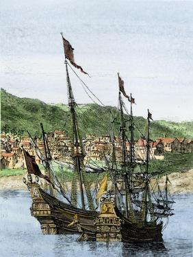 Spanish Ships in a Colonial Port