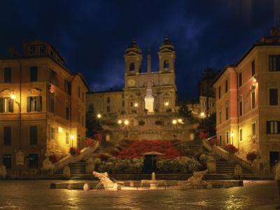 Spanish Steps Illuminated at Night in the City of Rome, Lazio, Italy, Europe