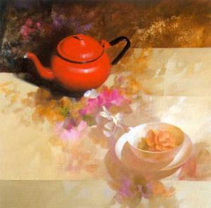 Still Life with Red Teapot by Spartaco Lombardo