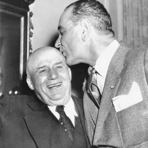 Speaker Sam Rayburn Gets a Kiss on the Head from Senate Majority Leader Lyndon Johnson