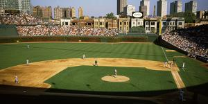 Spectators in a stadium, Wrigley Field, Chicago Cubs, Chicago, Cook County, Illinois, USA