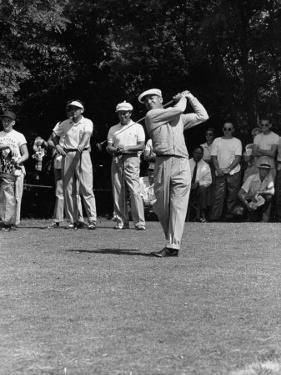 Spectators Watching Ben Hogan, Drive a Ball, at the National Open Golf Tournament