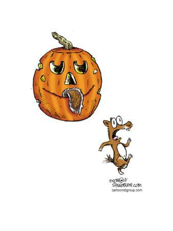 No caption.  (Squirrel runs in terror after jack-o-lantern has bitten off its tail.) by Speed Bump