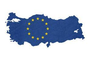 European Flag Map Of Turkey Isolated On White Background by Speedfighter