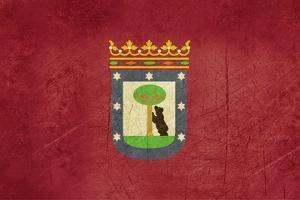 Grunge Illustration Of Madrid City Flag, Spain by Speedfighter
