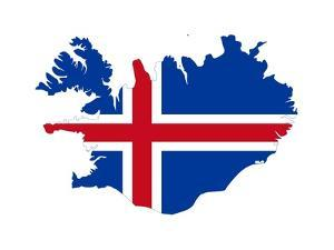 Illustration Of The Iceland Flag On Map Of Country; Isolated On White Background by Speedfighter