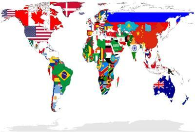 Map of World With Flags In Relevant Countries, Isolated On White Background
