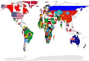 Map of World With Flags In Relevant Countries, Isolated On White Background by Speedfighter