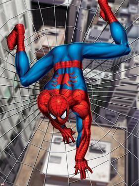 Spider-Man Above the City, Crawling on Web