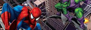 Spider-Man and Green Goblin Fighting and Flying in the City