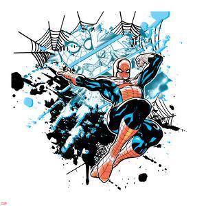 Spider-Man Badge: Panels, Splatter, and Webs, Spider-Man Jumping