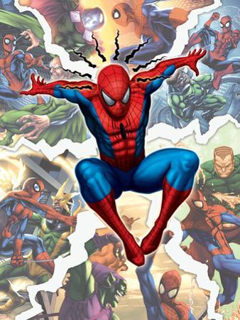 Spider-Man, Green Goblin, Sandman, Electro, Doctor Octopus, Mysterio, and Vulture Fighting in City