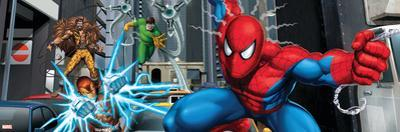 Spider-Man, Kraven the Hunter, Shocker, and Doctor Octopus Fighting in the City