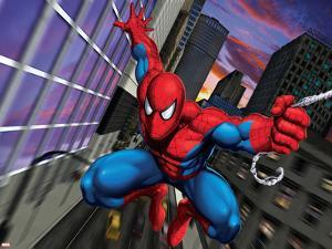 Spider-Man Swinging through the City