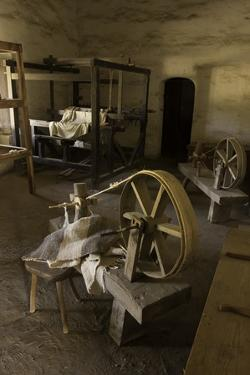 Spinning Wheel and Looms at La Purisima Mission in Lompoc California