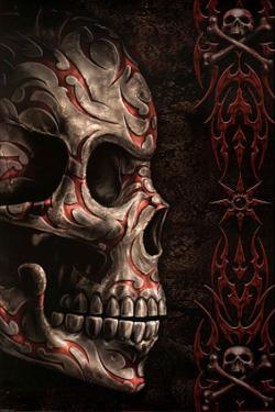Spiral (Skull Tattoo) Art Print Poster