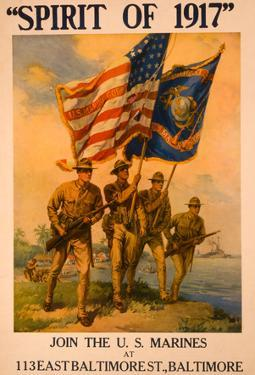 Spirit of 1917 Join US Marines War Vintage Ad Poster Print