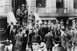 Anxious Crowds Outside the White Star Line Office, 1912 by Sport & General