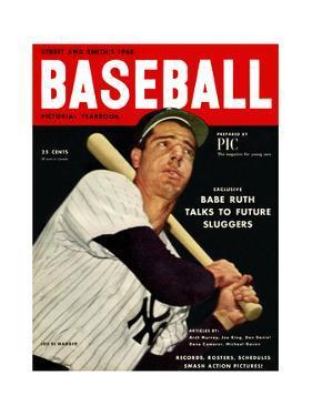 Sporting News Magazine, 1948 - Joe DiMaggio - Babe Ruth Talks To Future Sluggers