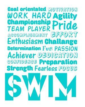 Swimming Word Cloud - Teal by Sports Mania